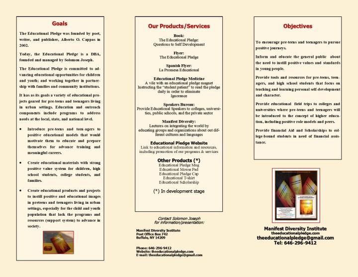 Educational Pledge Brochure Page 1