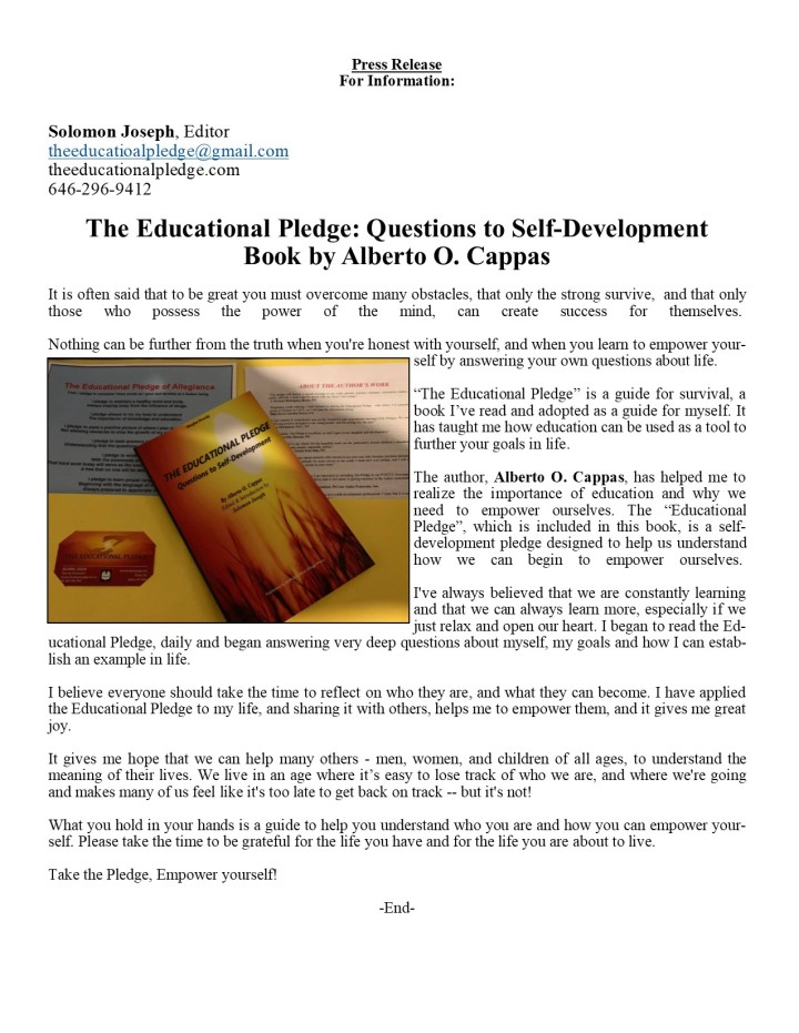 Press Release for The Educational Pledge, Questions to Self-Development